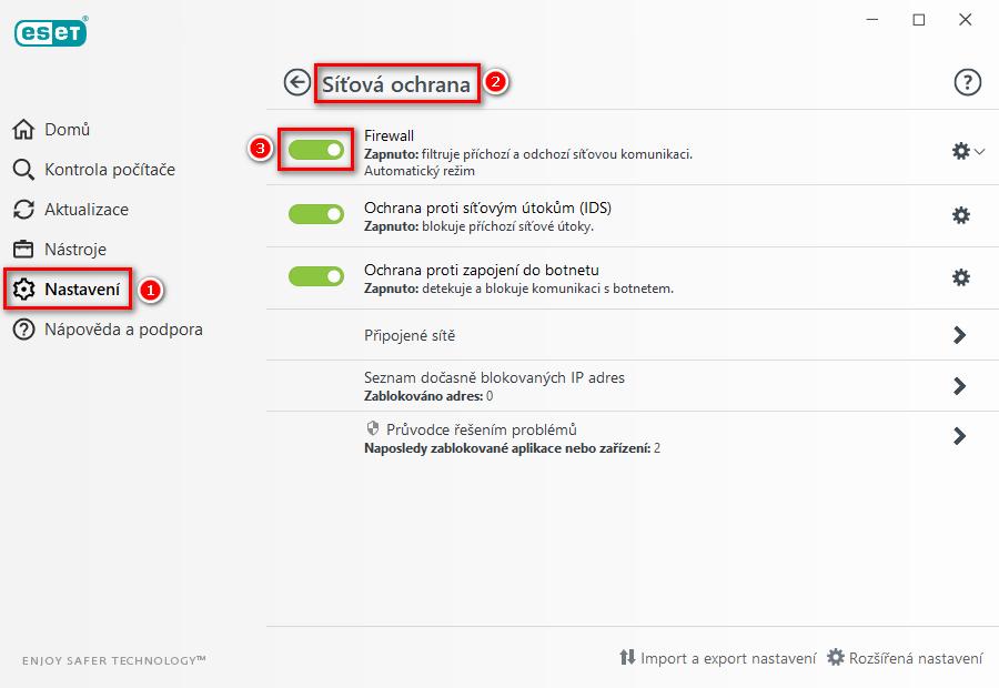 Dočasné pozastavení firewallu