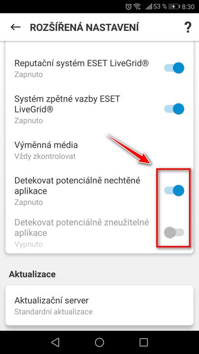 Umístění přepínačů v produktu ESET Mobile Security