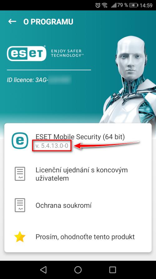 Verze mobilního produktu ESET