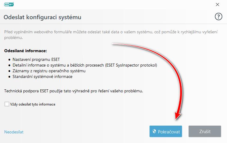 ESET Smart Security: Odeslání konfigurace systému