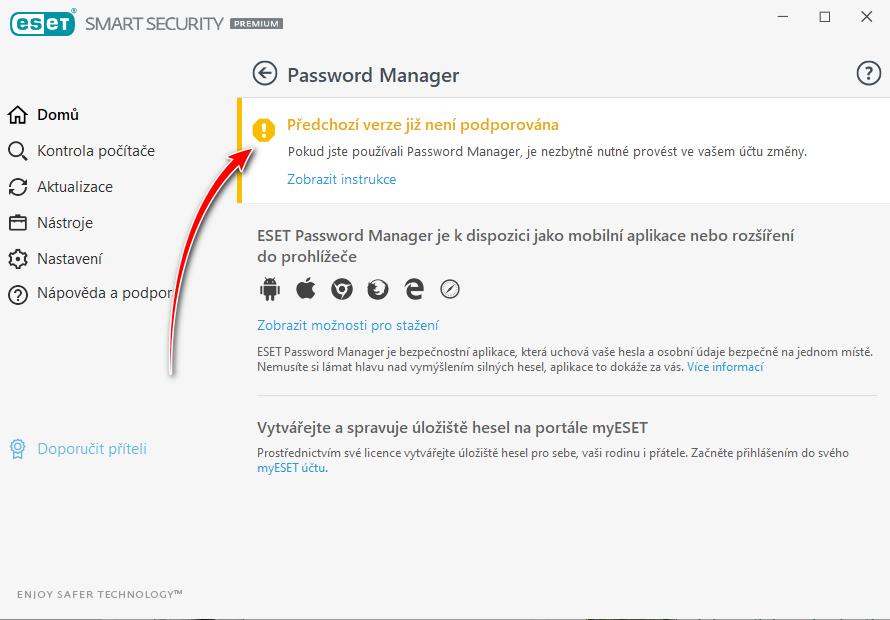 Snímek obrazovky s produktu ESSP s oranžovým informativním pruhem