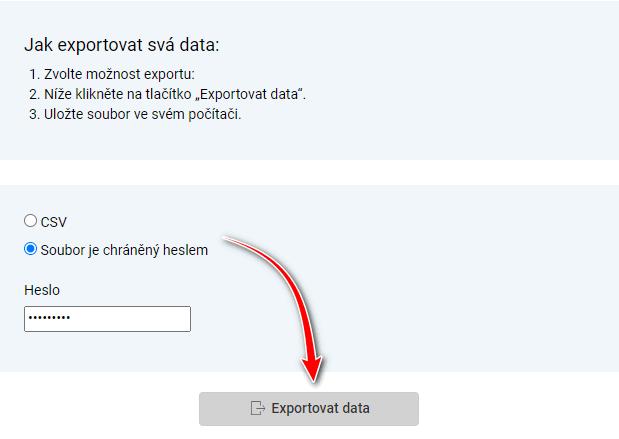 Výběr exportu