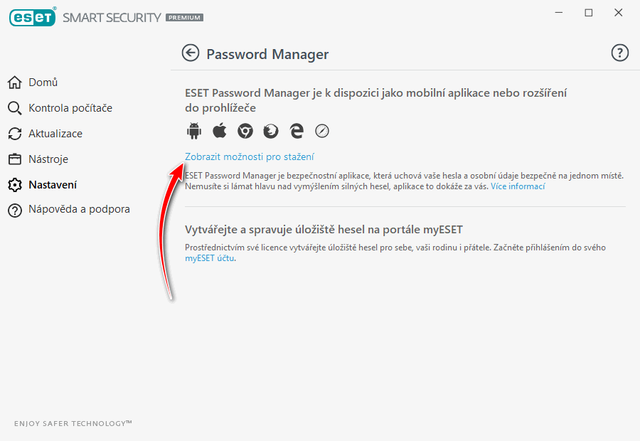 ESET Smart Security Premium: správce hesel