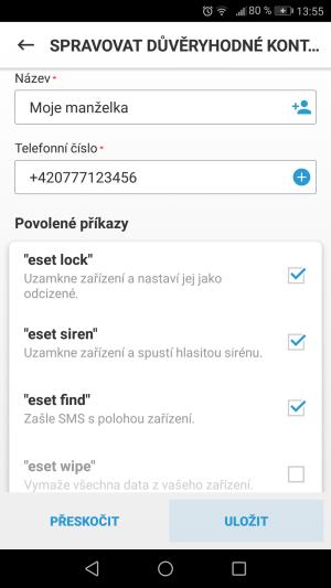 Obrazovka s příkazy v produktu ESET Mobile Security