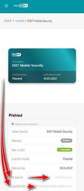Správa licencí ESET
